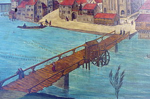Münsterbrücke, Zürich - Wooden medieval bridge (Obere Brücke) between Münsterhof/Fraumünster and Grossmünster (Altarbilder by Hans Leu d.Ä., late 15th century)