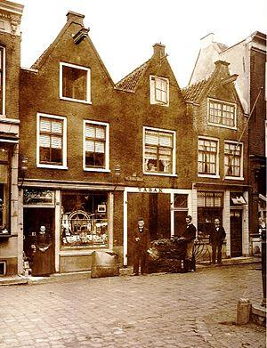 """Frederik H. Kreuger - The tobacco factory """"Het Wapen van Spanje"""" anno 1893 in Weteringstraat 40, Amsterdam."""