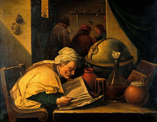 An alchemist in his laboratory. Oil painting by a follower o Wellcome V0017679