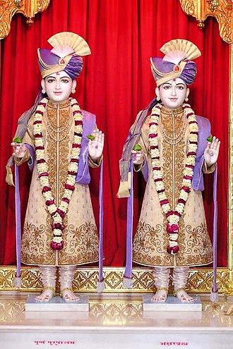 Akshar Purushottam Upasana - The idols (murtis) of Akshar and Purushottam