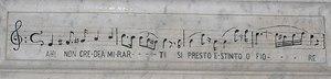 "La sonnambula - Ah! non credea mirarti / Sì presto estinto, o fiore (""I did not believe you would fade so soon, oh flower""). This text from act 2, scene 2, of La sonnambula appears on Bellini's tomb in Catania"