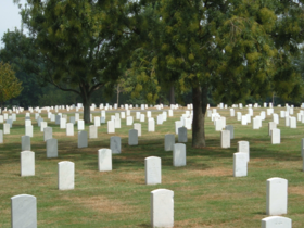 Rows of tombstones at Arlington National Cemetery.