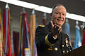 Army Gen. Keith Alexander, who is stepping down as head of U.S. Cyber Command and the National Security Agency, delivers remarks at his retirement ceremony at the National Security Agency headquarters on Fort G 140328-M-EV637-808c.jpg