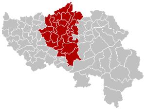 Arrondissement of Liège - Image: Arrondissement Liège Belgium Map