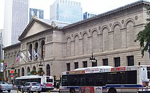 The Romanesque facade of the Art Institute of Chicago is pictured