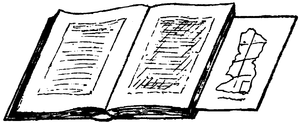 Drawing of an open book with an unfolded map protruding from the pages half-way down th right-hand side.