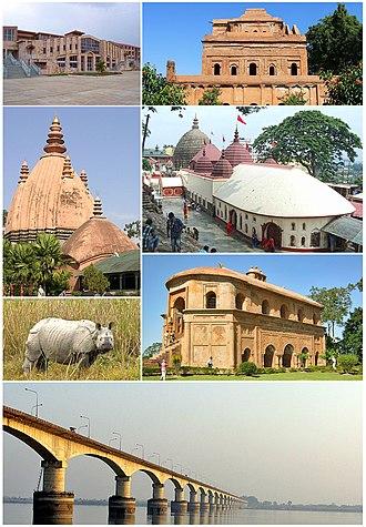 Assam - Clockwise from top Academic complex of IIT Guwahati, Ahom Raja Palace, Kamakhya Temple, Rang Ghar, Kolia Bhomora Setu, Kaziranga Rhino and Sivasagar Sivadol.