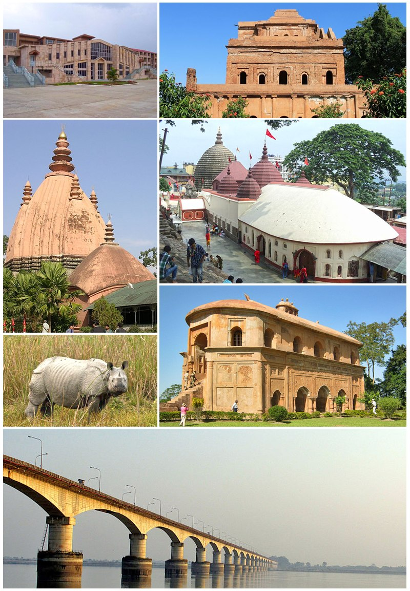 Clockwise from top Academic complex of IIT Guwahati, Ahom Raja Palace, Kamakhya Temple, Rang Ghar, Kolia Bhomora Setu, Kaziranga Rhino and Sivasagar Sivadol.