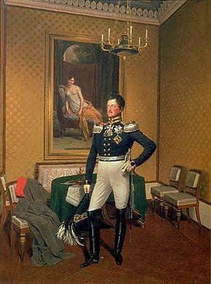 Prince Augustus of Prussia - An 1817 portrait of Prince Augustus standing next to the portrait of Juliette Récamier, by Franz Krüger