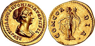 Faustina the Younger - Aureus of Antoninus Pius, struck at the Rome mint, dated c. 147–152. Obv: Bust of Faustina the Younger. Rev: Goddess Concordia standing.