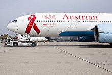 Austrian Airlines Boeing 777-200ER (OE-LPB) unveiling in Life Ball 2014 special livery 7.jpg