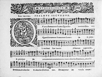 Artus Aux-Cousteaux - One page of Aux-Cousteaux's Psalmi aliquot... (Paris, Pierre I Ballard, 1631).
