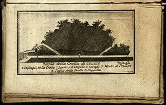 Grotta di Cocceio - Grotta di Cocceio, drawing from Pompeo Sarnelli's La guida de' forestieri curiosi di vedere… (1769)