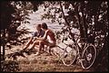 BICYCLING COUPLE STOP DURING THEIR TOUR OF FOURTH LAKE, NEW YORK, IN THE ADIRONDACK FOREST PRESERVE - NARA - 554494.jpg