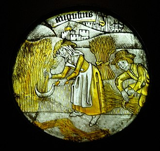 "Sickle - One of 12 roundels depicting the ""Labours of the Months"" (1450-1475)"