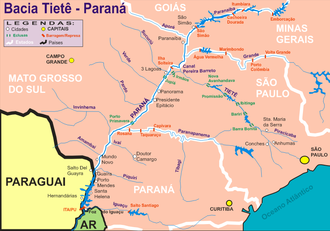 Paranaíba River - Map of the basin of the high Brazilian Paraná, with details of the source rivers and tributaries