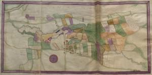 Estate map - Image: Badminton Estate map volume 3. Tretwr f.68v & f.69r