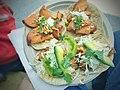 Baja Style Fish taco, Fried rock fish, cabbage, heirloom tomato, avocado, Serrano chile, lime, crema, herbs - 18511248695.jpg