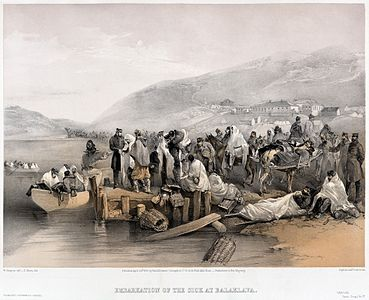 """""""Print shows the embarkation of sick persons at the harbor in Balaklava."""" tinted lithograph, digitized from the original print.  Restored."""