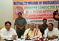 Bandaru Dattatreya addressing the media after a review meeting with on unorganised sector labour related issues, in Hyderabad. The Minister for Home & Labour, Telangana, Shri N. Narsimha Reddy is also seen.jpg