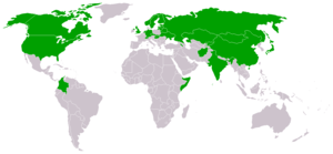 Federation of International Bandy - World map showing the present members of FIB (green)