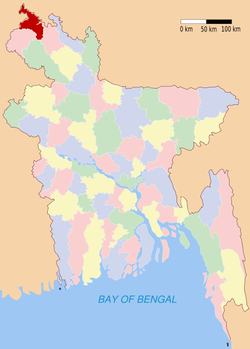 Location of Panchagarh in Bangladesh