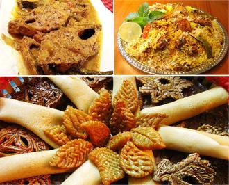 Bangladeshi cuisine - Traditional Meal: Mustard seed Ilish Curry , Dhakai Biryani and Pitha