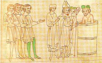 Bořivoj I, Duke of Bohemia - Baptism of Bořivoj, Velislai biblia picta, 14th century