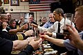 Barack Obama and firefighters toast during a lunch in New York.jpg