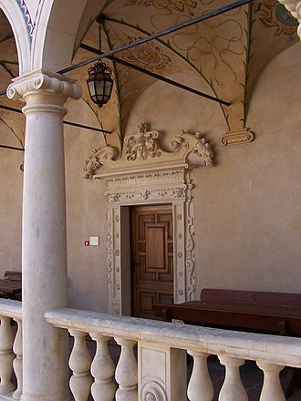 Mannerist architecture and sculpture in Poland - Arcade and portal of Leszczyński Castle, circle of Santi Gucci (1591–1606), Polish-style mannerism, Baranów Sandomierski.