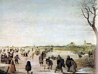 Skaters and kolf players on a Frozen River