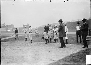 Bill Armour - Cleveland Bronchos warming up in Chicago (Armour in suit at right).