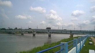 Basirhat - Basirhat bridge from Rabindra Shaikat park, Basirhat