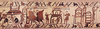 Counter-castle - The construction of the castle of Hastings (left), Bayeux Tapestry