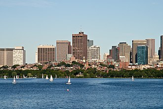 Beacon Hill, Boston - The neighborhood of Beacon Hill as seen from the Charles River, (with the Financial District in the background)