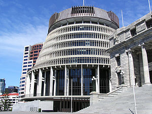 Finance company collapses, 2006-12 (New Zealand) - The Beehive, Executive Wing of New Zealand's Parliament buildings.