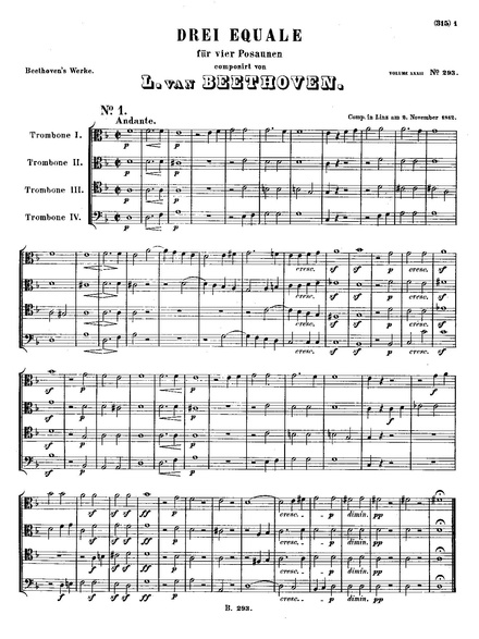 Score of the Three Equals for four trombones. Breitkopf und Hartel, 1888 Beethoven 3 Equali WoO 30, published Breitkopf und Hartel, Leipzig, 1888.pdf