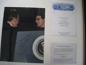 Richard Behar - Behar congratulated by President George H.W. Bush upon receiving Worth Bingham Prize