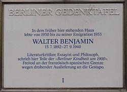 Berliner gedenktafel walter benjamin prinzregentenstra%c3%9fe 66 berlin wilmersdorf