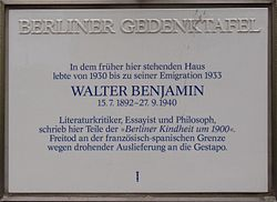 Photo of Walter Benjamin white plaque