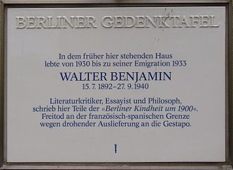 Walter Benjamin - Commemorative plaque for Walter Benjamin, Berlin-Wilmersdorf