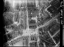B&W photo of Sloane Square from the air