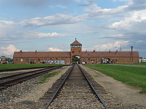 "Holocaust train - Entrance, or so-called ""death gate"", to Auschwitz II-Birkenau, the extermination camp"