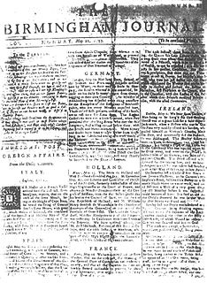 <i>Birmingham Journal</i> (eighteenth century) periodical literature