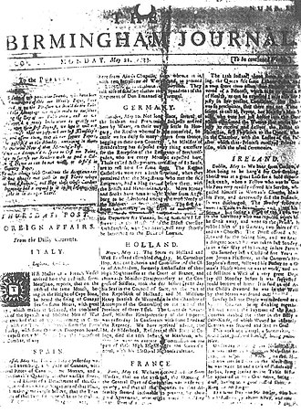 Birmingham Journal (eighteenth century) - The only known surviving copy of the Birmingham Journal, dated 21 May 1733