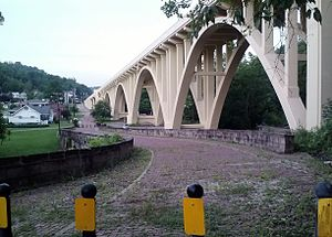 "Blaine Hill ""S"" Bridge - Blaine Hill ""S"" Bridge in July 2013 with Blaine Hill Viaduct on the right"