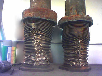 Water hammer - Expansion joints on a steam line that have been destroyed by steam hammer