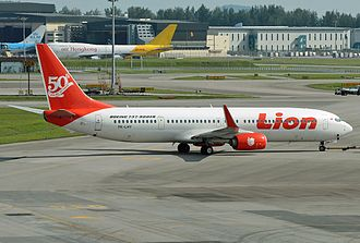Lion Air - Lion Air Boeing 737-900ER in '50th 737-900ER built' livery, also at Singapore Changi Airport