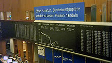L'interno della Borsa di Francoforte, mercato principale del Deutsche Börse Group