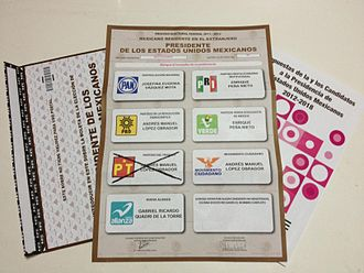 Postal voting - Postal ballot paper for Mexico federal election 2012